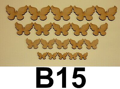 20 X MIXED WOODEN MDF BUTTERFLY SHAPES LASER CUT CRAFT EMBELLISHMENTS DECORATION • 1.80£