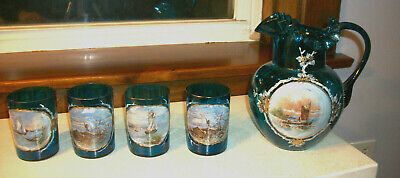 $74.99 • Buy Blue Glass Blown Pitcher W 4 Matching Tumblers - Hand Painted Boat Scene 1880s