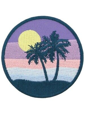 £3.50 • Buy Pastel Sunset Iron On Patch Sunny Holiday Beach Palm Tree Vacation Multicoloured