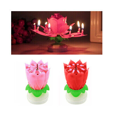 $ CDN11.66 • Buy 1 X Musical Birthday Candle Lotus Flower Rotating Spin Magic Cake Topper Party