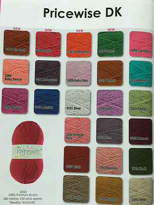 King Cole Pricewise Double Knitting  Dk Wool/yarn Assorted Colours 100 Gram Ball • 1.95£