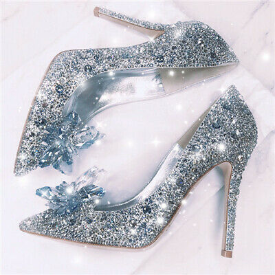 Silver Cinderella Wedding Party Diamond Pumps Crystal High Heels Shoes UK 2.5-7 • 5.99£