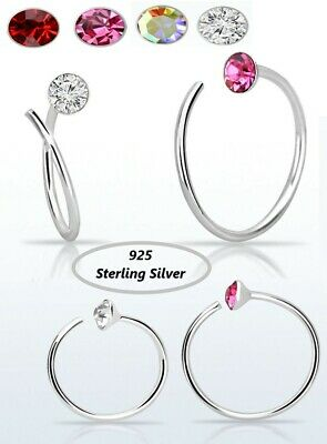 Nose Spiral Ring 925 Sterling Silver Hoop 0.6 Mm Thick Piercing • 3.29£