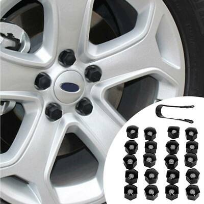 20x Car Wheel Nut/Bolt Head Cover 17mm Hex Black Plastic+Black Clips Accessories • 3.09£