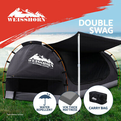 AU243.95 • Buy Weisshorn Double Swag Camping Swags Canvas Free Standing Dome Tent Dark Grey 7CM