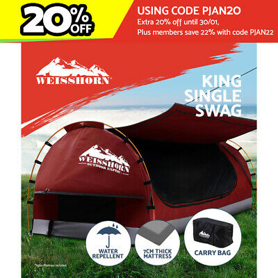 AU209.95 • Buy Weisshorn Swag King Single Camping Swags Canvas Free Standing Dome Tent Red