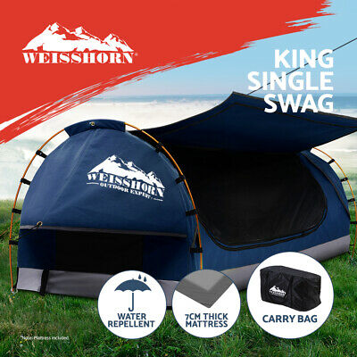 AU247.95 • Buy Weisshorn Swag King Single Camping Swags Canvas Free Standing Dome Tent Blue