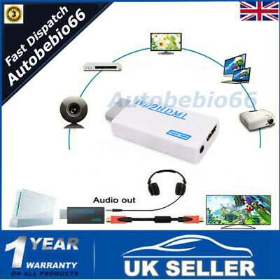 Wii To HDMI Converter Adapter 1080P HD Audio Output Cable 3.5mm Jack Lead • 6.89£