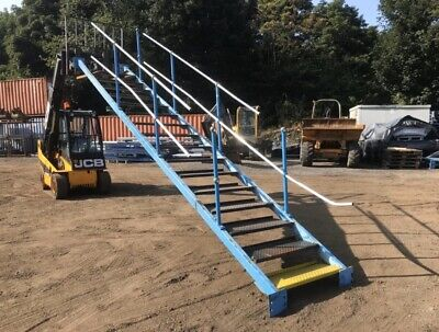 Steel Staircase Fire Escape Self Standing, Mezzanine Floor Warehouse Step • 750£