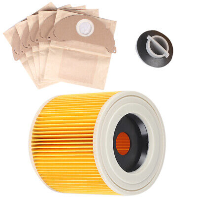 For Karcher Wet Dry WD2 WD3.500 Vacuum Cleaner Filter & 5 Dust Hoover Bags UK • 7.69£