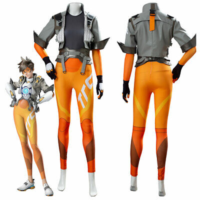AU107.62 • Buy Overwatch OW2 Tracer Lena Oxton Cosplay Costume Jumpsuit Jacket Outfit