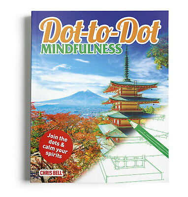 Dot-to-Dot Mindfulness Puzzle Activity Book For Adults By Chris Bell New • 5.75£