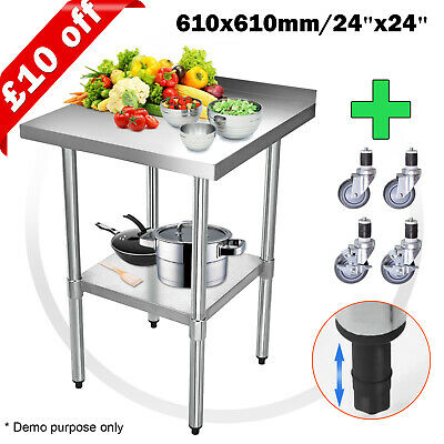 £90.99 • Buy Voilamart Commercial Stainless Steel Work Bench Table Kitchen Top 610X610mm