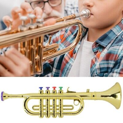 1pc Kids Trumpet Plastic With 4 Colored Keys For Child Educational Toy Golden • 10.48£