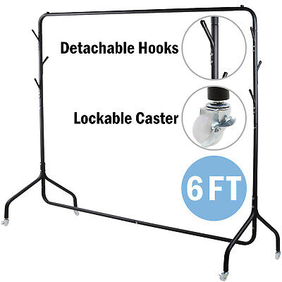 6FT Heavy Duty Metal Clothes Rail Hanging Rack Display Stand With Hat Scarf Hook • 21.99£