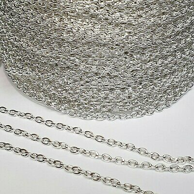 £2.49 • Buy Silver Plated Loose Cable Jewellery Making Chain By The Metre 2x3mm Links DIY