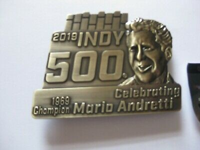 $30 • Buy 2019 Indy 500 Pit Badge Belt Buckle Celebrating Mario Andretti 1969 Champion New