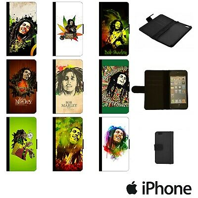 BOB MARLEY JAMAICA REGGAE FLIP WALLET PHONE CASE COVER FOR APPLE IPhone BOBW00 • 8.49£