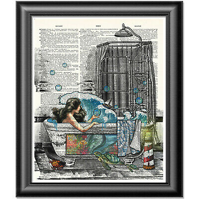 Mermaid Art Print On Dictionary Book Page Wall Art Bathroom Decor Picture • 5.99£
