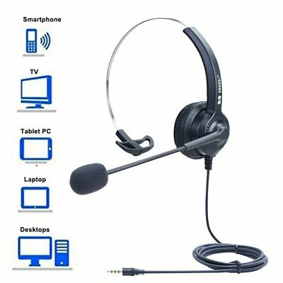 Wired 3.5mm Computer Headset Headphones For Call Center PC Laptop Skype Black UK • 14.68£