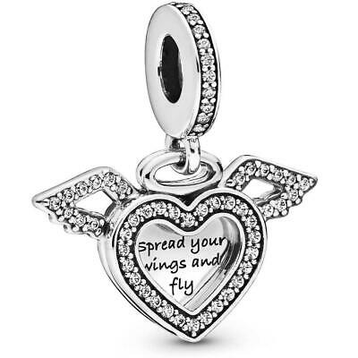 Genuine Pandora 925 ALE Silver Heart And Angel Wings Dangle Charm 798485C01  • 14.99£