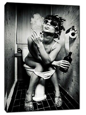 Girl In Toilet Drinking And Smoking Picture Print On Framed Canvas Wall Art • 19.49£