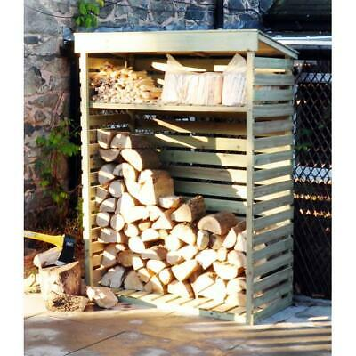 Large Wooden Garden Log Store / Storage Shed With Shelf 156cm X 117cm • 125.75£