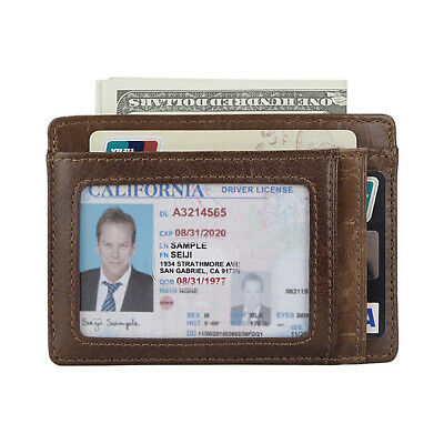 $ CDN9.93 • Buy RFID Men Real Leather Money Clip Slim Wallet ID Card Hold Front Pocket Purse