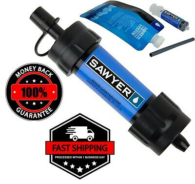 $32.99 • Buy Blue Portable Mini Water Filter System Fit Filtration Straw Drinking Purifier