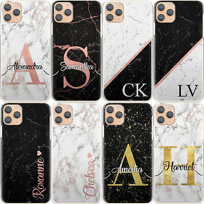 AU12.90 • Buy Personalised Initial Phone Case, Black Marble Hard Cover For Google/Asus/Oppo