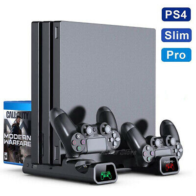 AU48.45 • Buy For PS4 Pro/Slim Console Vertical Stand + Controller Charging Dock + Cooling Fan