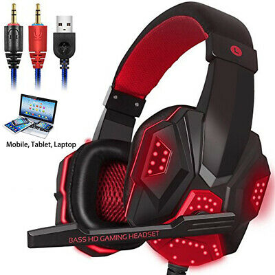 AU24.60 • Buy Wired  LED Gaming Headset For PC PS4 Slim Pro Xbox One 3.5mm With Mic Headphones