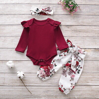 Newborn Baby Girls Clothes Ruffle Romper Tops Floral Pants Headband Outfit Set • 9.04£