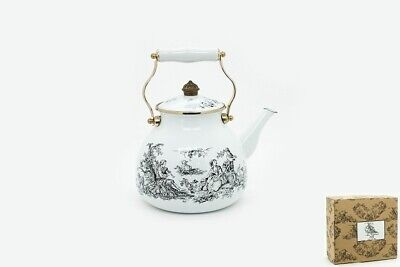 AU49.99 • Buy New Design Stove-top Kettle, Porcelain Enamel White Kettle And Matching Tray