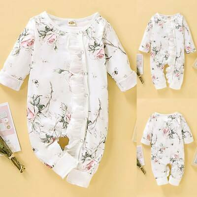 Newborn Baby Girl Ruffle Floral Romper Bodysuit Jumpsuit Playsuit Clothes Outfit • 8.80£