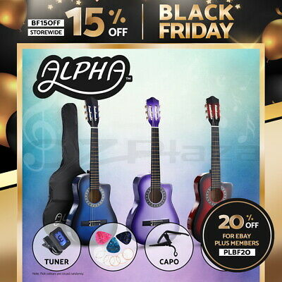 "AU84.90 • Buy Alpha 34"" Inch Guitar Classical Acoustic Wooden Kids Gift 3/4 Size Capo 3 Colour"