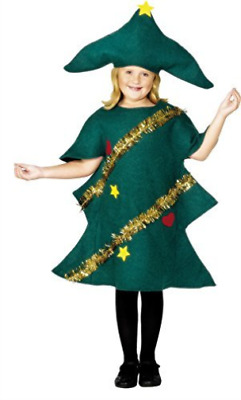 Christmas Tree Costume, Green, With Tunic & Hat -  (Size: Small Age COST-UNI NEW • 9.56£