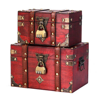Retro Style Treasure Chest With Lock Vintage Wooden Trinket Storage Jewelry Box • 10.95£
