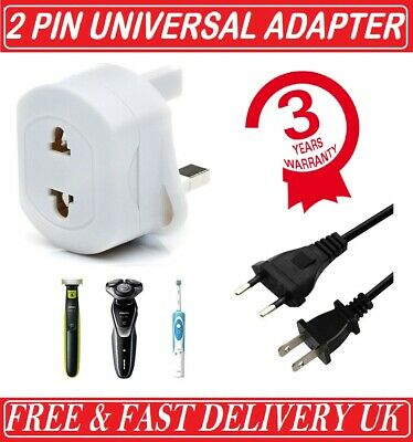 2-Pin To 3-Pin UK Shaver Adapter Plug Socket Converter EU European Euro Europe • 3.99£