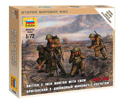 Zvezda 1/72 Figures British 3 Inch Mortar With Crew 1939 - 1945  Z6168 • 4.95£
