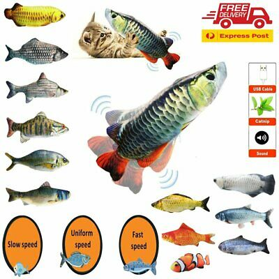 AU16.56 • Buy Electric Cat Fish Toy Stuffed Wagging Realistic Plush Simulation Fish Catnip