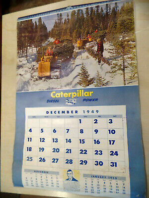 $30 • Buy Vintage 1950 Calendar, Caterpillar  Diesel Power  Implement Equipment 10 Pages