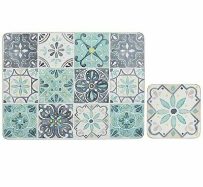 £19.99 • Buy Moroccan GREEN TILES 4 Placemats And 4 Coasters Set CORK BACKED Lacquer Finish