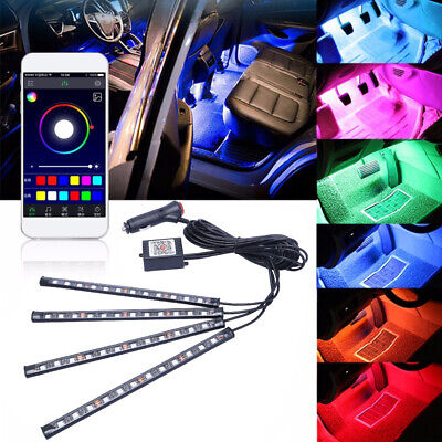 $17.99 • Buy 4X LED RGB Light Strip Car Atmosphere App BT Control Interior Lamp Multi-Color