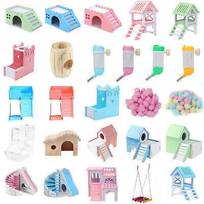 Hamster Toys Wooden House Hanging Swing Hammock Ladder Rat Wheel Seesaw Tunnel O • 4.98£