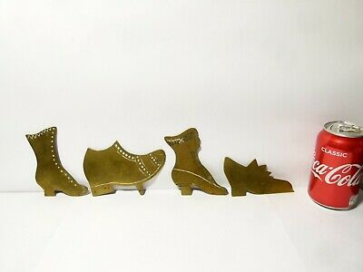 4 Antique Brass Engraved SHOE - BOOT Fireside Mantle Piece Ornaments A/f  • 60£