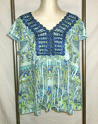 $7.99 • Buy Live And Let Live 1X 2X Knit Top Boho Peasant Blue Green Paisley Embroidery