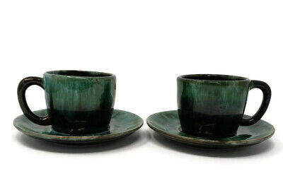 $ CDN24.25 • Buy Blue Mountain Pottery Tea Cups With Saucers 2 Sets Green Dripped Glaze