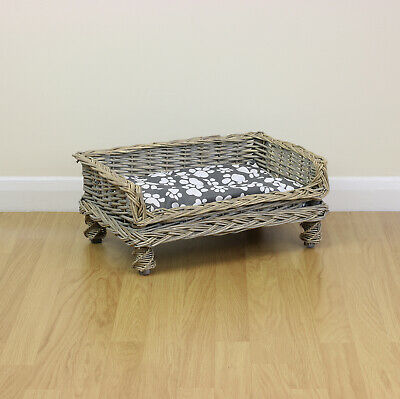 £19.99 • Buy Extra Small Raised Woven Wicker Pet Bed Basket Shabby Chic Kitten/Cat/Puppy/Dog