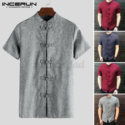 NEW Chinese Style Retro Men's Short Sleeve Shirt Button Kung Fu Causal Tops Tee • 8.79£